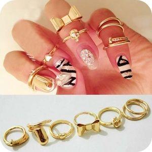 PREVIEW Trendy Gold Finger Nail Midi Rings 7Pc Set